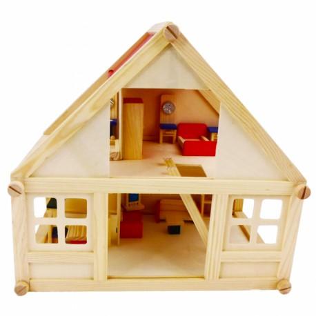 Drewniany Domek dla Lalek z meblami