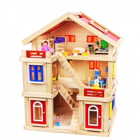 Drewniany domek dla lalek z meblami i lalkami ONSHINE