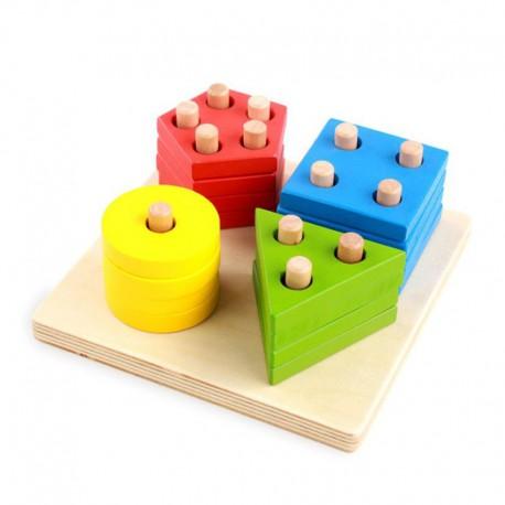 Drewniana układanka sorter 16 elementów