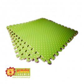 Mata puzzle piankowa w grochy zielona
