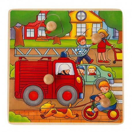 ONSHINE Drewniana układanka, puzzle z pinezkami straż pożarna