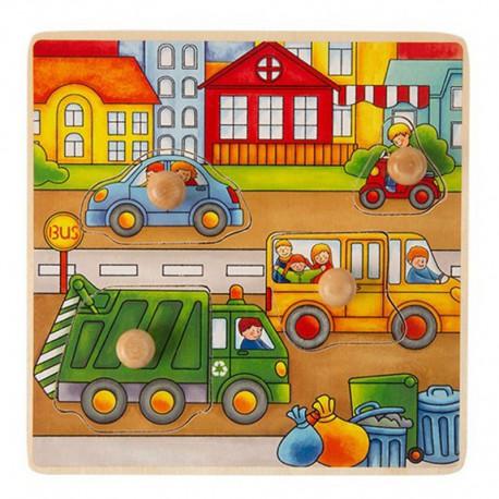 ONSHINE Drewniana układanka, puzzle z pinezkami śmieciarka
