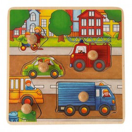 ONSHINE Drewniana układanka, puzzle z pinezkami ciężarówka