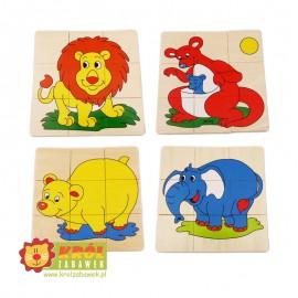 Puzzle Drewniane Zwierzęta w pudełku 36el.