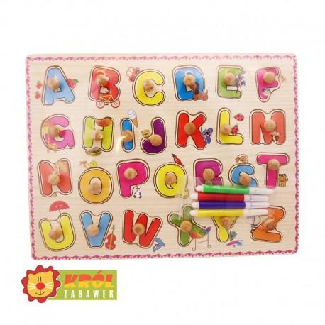 Układanka kolorowanka z pinezkami alfabet