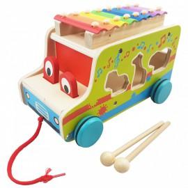 Samochód do ciągania z cymbałkami i zwierzątkami