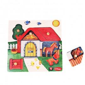Puzzle kształty farma z pinezkami