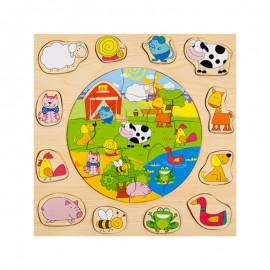Układanka drewniana puzzle farma ONSHINE