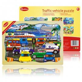 Puzzle drewniane 24 szt. pojazdy ONSHINE