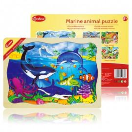 Puzzle drewniane 24 szt. zwierzęta wodne ONSHINE