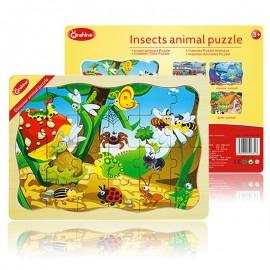 Puzzle drewniane 24 szt. owady ONSHINE