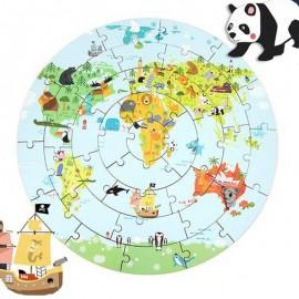 Drewniane duże puzzle mapa świata ONSHINE