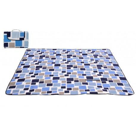 Mata piknikowa 200x200 niebieskie kwadraty