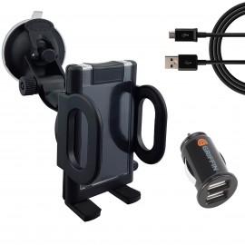 Uchwyt na telefon z ładowarką i przewodem USB