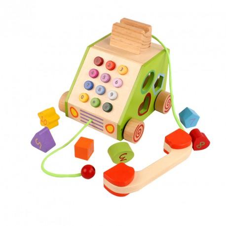 Drewniany telefon sorter na kołach