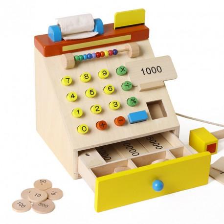 Drewniana zabawkowa kasa sklepowa