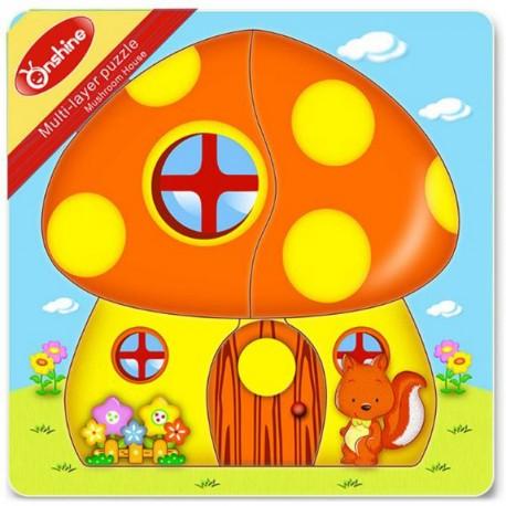 Układanka puzzle warstwowe domek grzybek ONSHINE