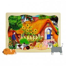 Puzzle drewniane 24 szt. farma