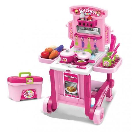 Duża Kuchnia Dla Dzieci Z Akcesoriami 3 W 1 Wózek Skrzynka Różowa Bakalupl