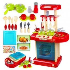 Kuchnia dla dzieci z dźwiękiem z akcesoriami walizka czerwona