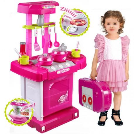 Kuchnia dla dzieci z dźwiękiem z akcesoriami walizka różowa