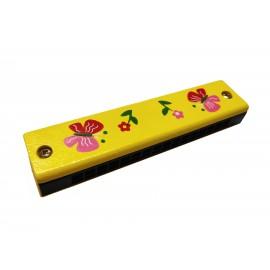 Drewniana Harmonijka żółta motylki