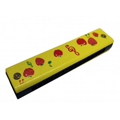 Drewniana Harmonijka żółta owoce