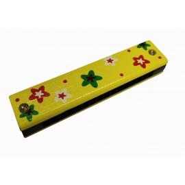 Drewniana Harmonijka zółta kwiatki gwiazdki
