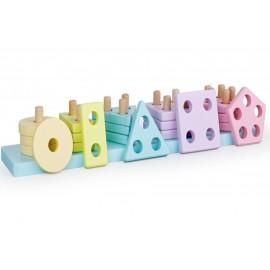 Drewniana układanka sorter 20 elementów pastelowe