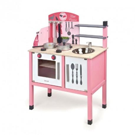 Drewniana kuchnia z akcesoriami różowa