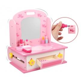 Drewniana toaletka kuchnia dla dziewczynki 2w1