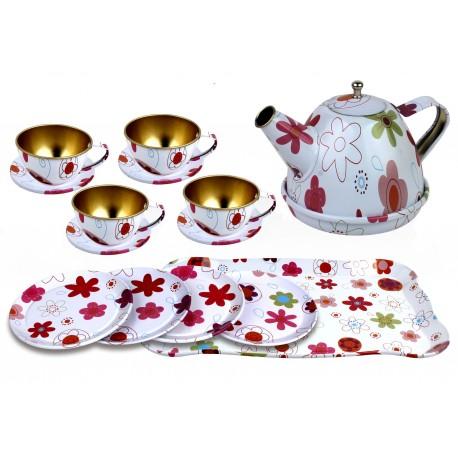 Zestaw herbatka  metalowe dla dzieci naczynia białe