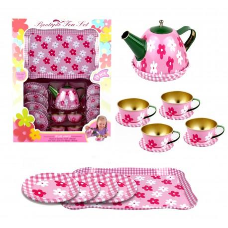 Zestaw herbatka  metalowe dla dzieci naczynia różowe