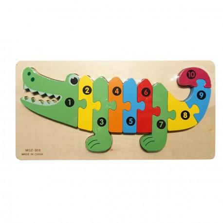 Drewniana układanka cyfry krokodyl