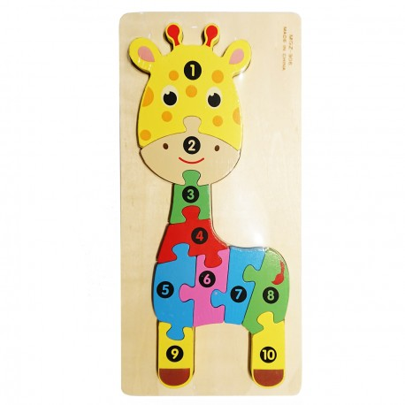 Drewniana układanka cyfry żyrafa