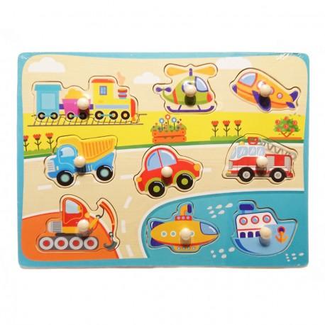 Puzzle kształty z uchwytami pojazdy