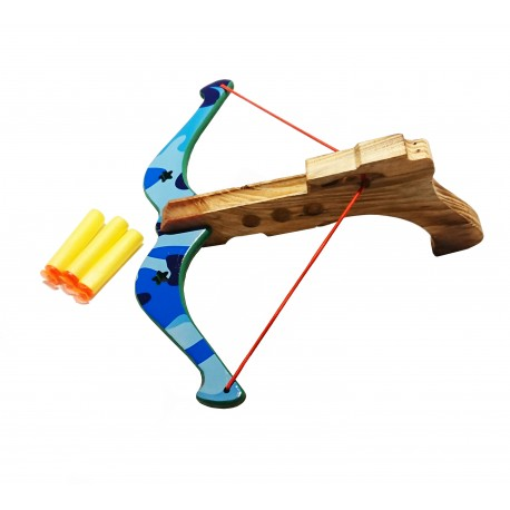 Kusza drewniana ze strzałkami niebieska