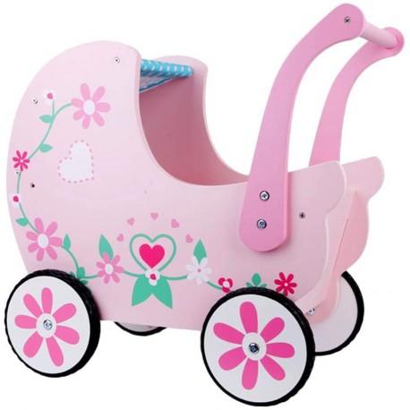 Wózek drewniany różowy
